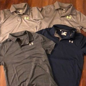 Lot of 4 Under amour boys loose med m golf shirts
